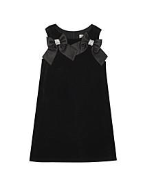 Big Girl Velvet Shift Dress With Satin Bow Detail