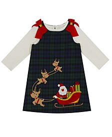 Little Girl Tweed Plaid Dress With Santa Reindeer Sleigh Applique With Solid Jersey Knit Jumper Set