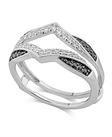 Black & White Diamond Enhancer Ring Guard (1/3 ct. t.w.) in 14K White Gold