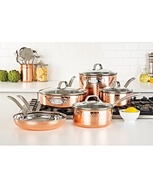 3-Ply Hammered Copper Clad 10-Pc. Cookware Set