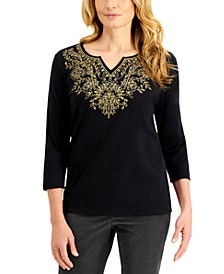 Embellished Split-Neckline Top, Created for Macy's