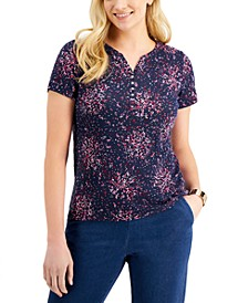 Short Sleeve Dot Fantasy Henley Top, Created for Macy's