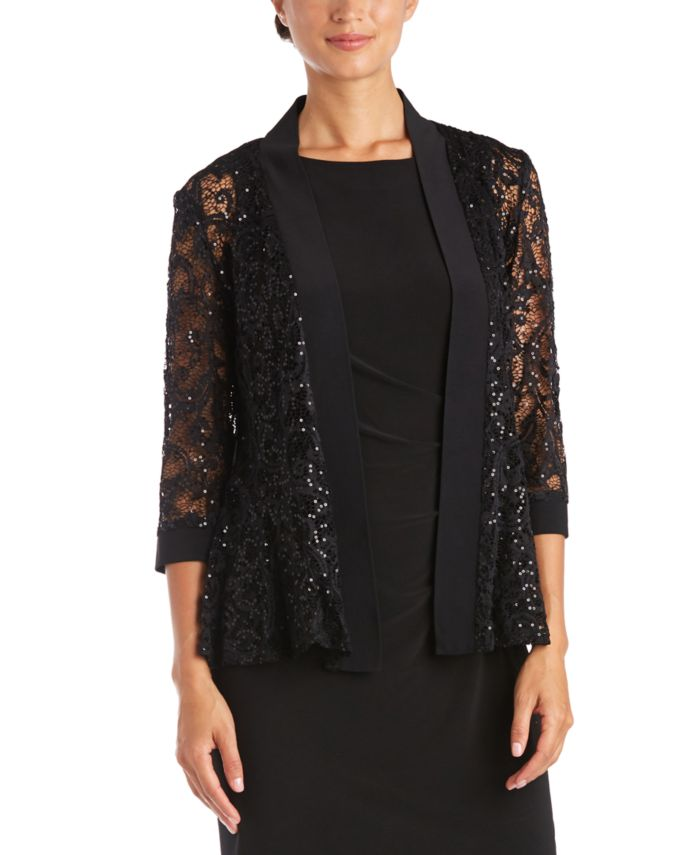 R & M Richards Sequin Lace Jacket & Reviews - Sweaters - Women - Macy's
