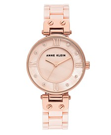 Women's Light Pink Ceramic and Mixed Metal Bracelet Watch 34mm