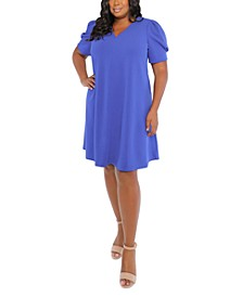 Plus Size Scuba-Crepe Puff-Sleeve Shift Dress