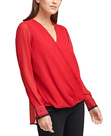 Solid V-Neck Asymmetrical Wrap Top