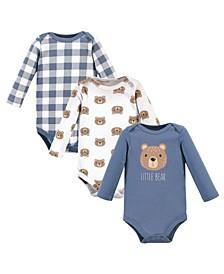 Baby Girls 3 Piece Cotton Long-Sleeve Bodysuits
