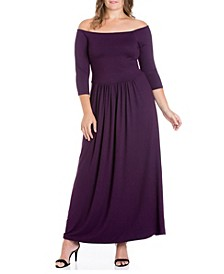 Women's Plus Size Off Shoulder Maxi Dress