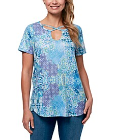 Women's Cleo Exotic Patchwork Strappy Tee