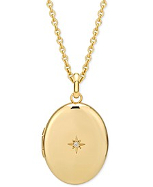 """Diamond Accented Oval Locket Pendant Necklace in 14k Gold-Plated Sterling Silver, 16"""" + 2"""" extender"""