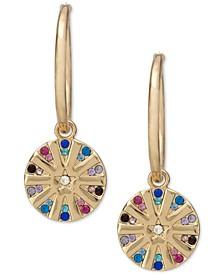 Gold-Tone Multicolor Pavé Star Disk Charm Hoop Earrings