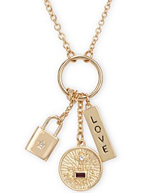 "Gold-Tone Crystal Love Multi-Charm Pendant Necklace, 26"" + 2"" extender"