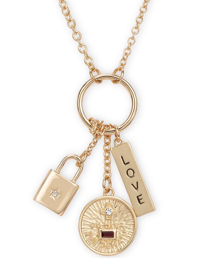"RACHEL Rachel Roy - Gold-Tone Crystal Love Multi-Charm Pendant Necklace, 26"" + 2"" extender"