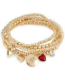Gold-Tone 5-Pc. Set Crystal Multi-Heart Charm Beaded Stretch Bracelets