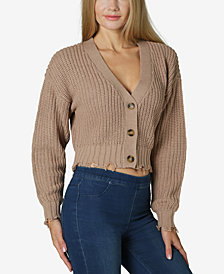 Ultra Flirt Juniors' Cropped Destructed Cardigan