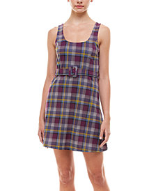 Planet Gold Juniors' Belted Plaid Dress