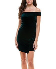 Juniors' Velvet Off-The-Shoulder Bodycon Dress
