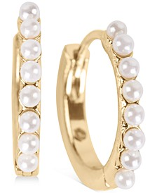 "Gold-Tone Small Imitation Pearl Huggie Hoop Earrings, 0.75"""