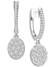 Diamond Dangle Cluster Drop Earrings (1 ct. t.w.) in 14k White Gold