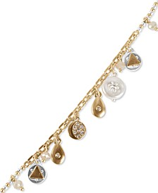 Two-Tone Crystal & Imitation Pearl Celestial Charm Bracelet