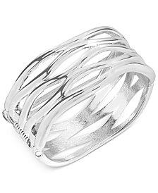 Robert Lee Morris Soho Silver-Tone Sculptural Cut-Out Hinge Bangle Bracelet
