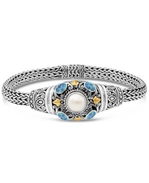 Cultured Freshwater Pearl (8mm) & Blue Topaz (1 ct. t.w.) Filigree Statement Bracelet in Sterling Silver & 18k Gold