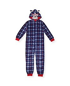 Big Boys Plaid Bull Dog Minky Fleece Onesie with Novelty Hood