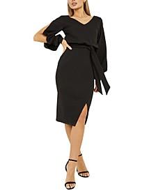 Split-Sleeve V-Back Midi Dress