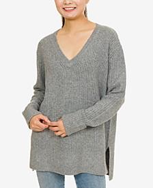 Hippie Rose Juniors' V-Neck Tunic Sweater