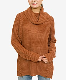 Hippie Rose Juniors' Cowl-Neck Zip-Detail Sweater