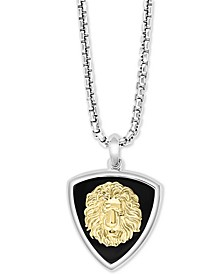 """EFFY® Men's Onyx Lion Dog Tag 22"""" Pendant Necklace in Sterling Silver & 18k Gold-Plated Sterling Silver"""