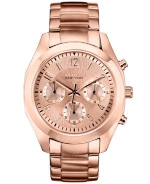 Caravelle New York by Bulova Women's Chronograph Rose Gold-Tone Stainless Steel Bracelet Watch 36mm 44L115