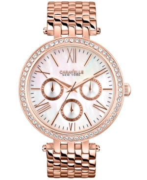 Caravelle New York by Bulova Women's Rose Gold-Tone Stainless Steel Bracelet Watch 38mm 44N101