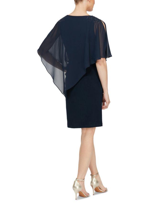 SL Fashions Embellished Overlay Shift Dress & Reviews - Dresses - Women - Macy's