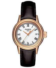 Tissot Women's Swiss Carson Brown Leather Strap Watch 29mm T0852103601300