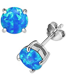 Lab-Created Opal Stud Earrings (1/2 ct. t.w.) in Sterling Silver, Created for Macy's