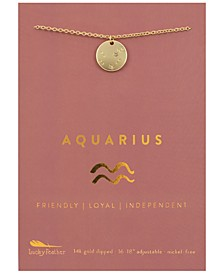 Zodiac Gold-Tone Charm Necklace, Aquarius