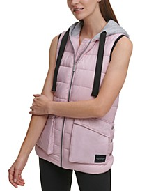 Cargo Pocket Hooded Puffer Vest