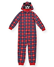 Big Boy's Plaid Minky Fleece Onesie with Novelty Bear Hood