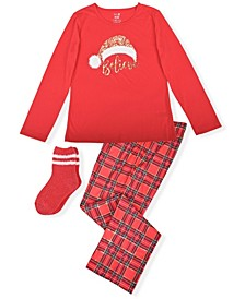 Big Girl's 2 Piece Believe Christmas Pajama Set with Socks