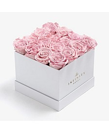 Square Box of 16 Pink Real Roses Preserved to Last Over a Year