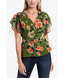 Women's Short Sleeve Peplum Hem Blouse