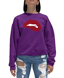 Women's Word Art Crewneck Savage Lips Sweatshirt
