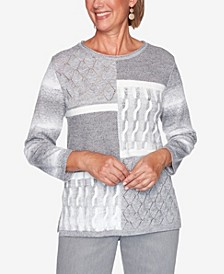 Women's Plus Size Glacier Lake Modern Patchwork Sweater