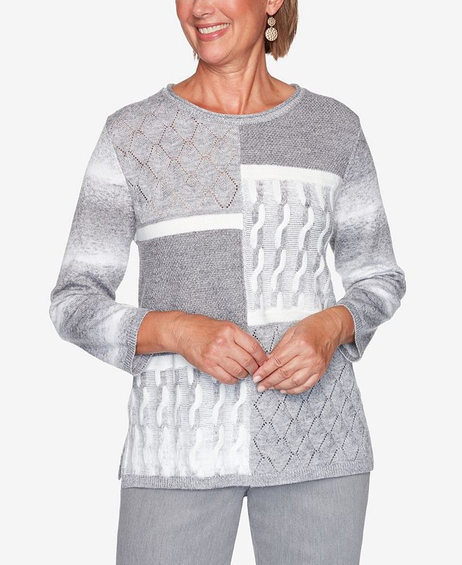 Alfred Dunner Women's Plus Size Glacier Lake Modern Patchwork Sweater