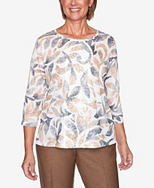 Women's Plus Size Glacier Lake Textured Scroll Knit Top