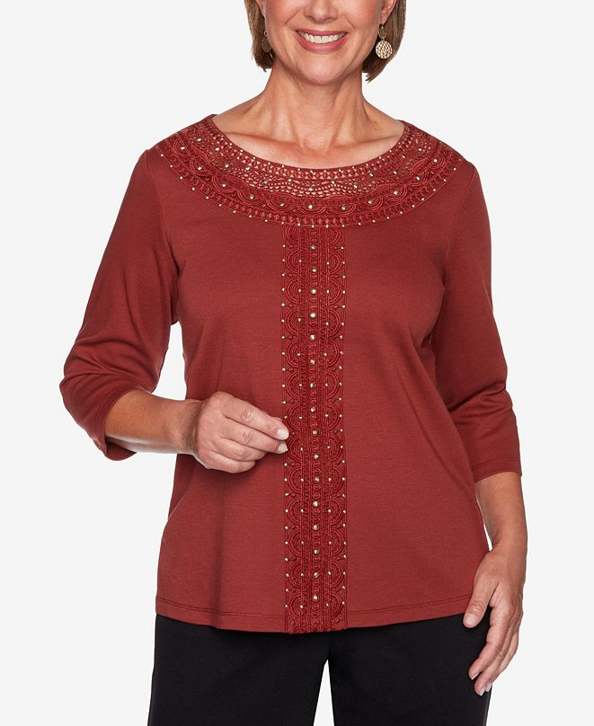 Alfred Dunner Women's Plus Size Catwalk Solid Center Crochet Knit Top