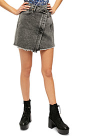 Free People Parker Wrap Denim Mini Skirt