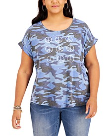 Plus Size Peace-Graphic Printed T-Shirt, Created for Macy's