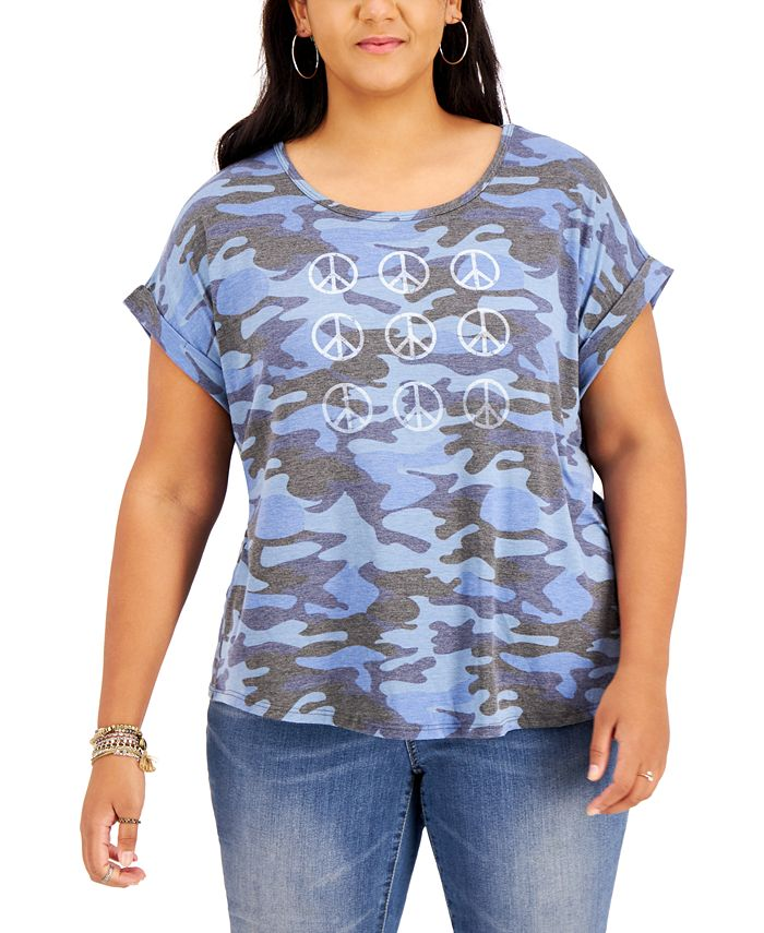 Style & Co - Plus Size Peace-Graphic Printed T-Shirt